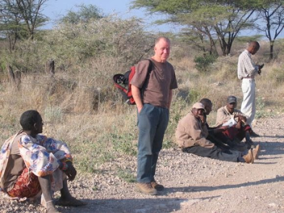 Waiting for the bus with the locals, north of Nairobi.