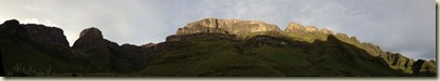 The dragons teeth above camp Drakensburg Mountains South Africa
