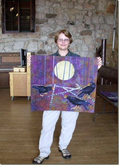 Artist in Residence Terry Kramzar with Raven quilt North Rim Grand Canyon National Park Arizona