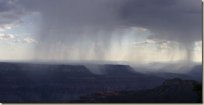 Rain over canyon from Crazy Jug Point Kaibab National Forest Arizona