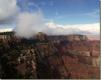 Cloud capped plateau from Cape Royal trail North Rim Grand Canyon National Park Arizona