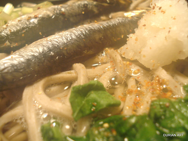 In the mist of nishin-soba… iwashi-soba (sardine sobasoup)