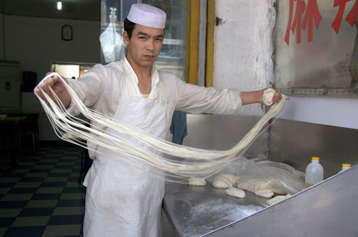 making hand pulled noodles