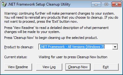 .net framework uninstall
