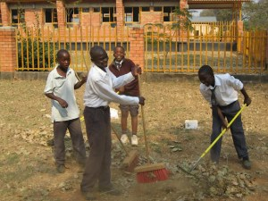 Canisius pupils cleaning some of the school areas