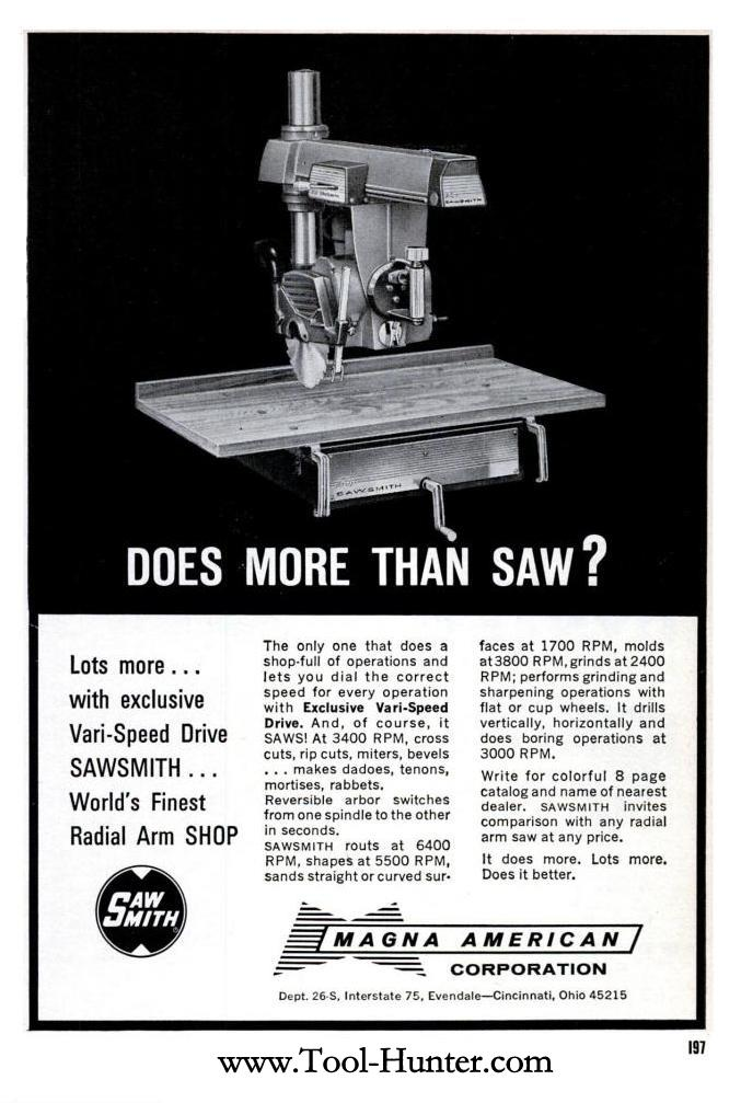 1964 Magna American Sawsmith Radial Arm Saw Ad More Than