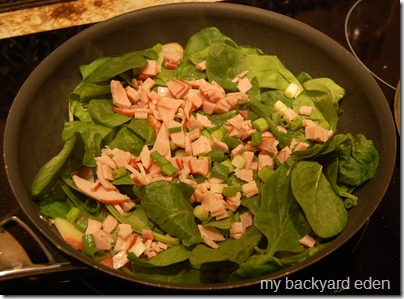 add spinach and Canadian Bacon