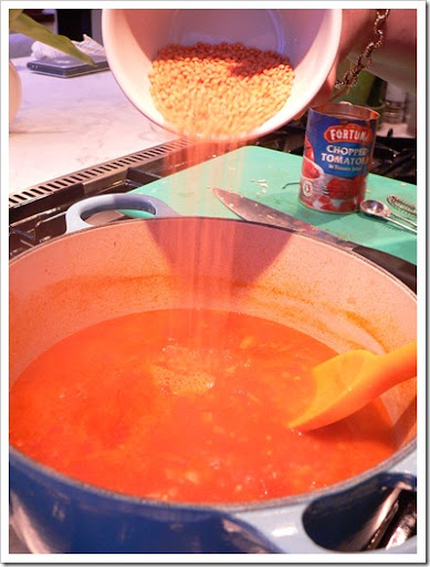 Adding the lentils