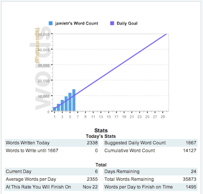 NaNoWriMo 2010 Day 6 Stats