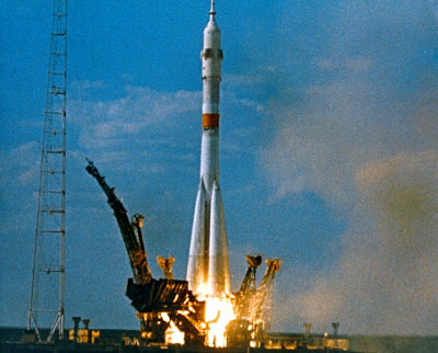 Soyuz launch of the Apollo Soyuz Test Project