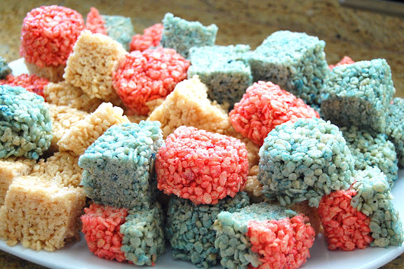One of my contributions: Festive Rice Krispy Treats!
