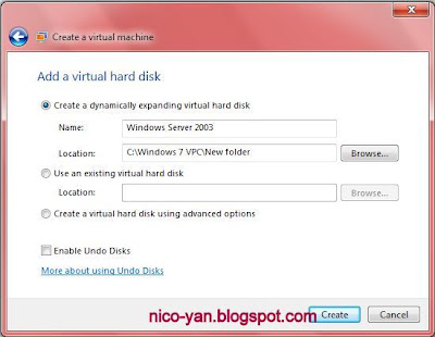 Setting harddisk di Virtual PC