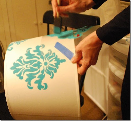 stenciling the damask lampshade 2