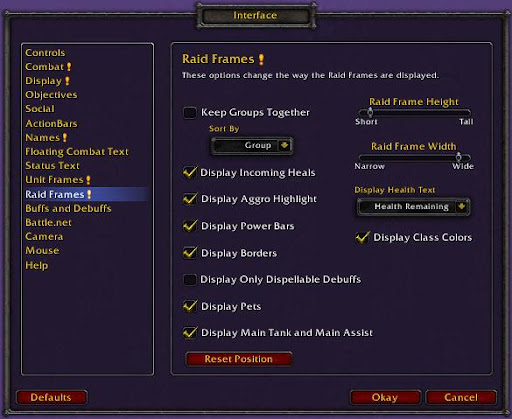 Raid Frames Interface Options
