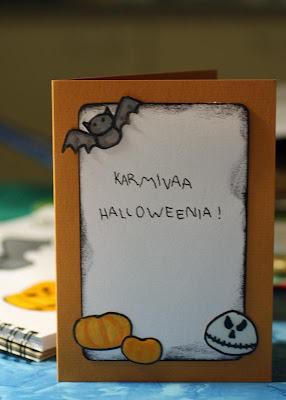 Oranssipohjainen Halloween -kortti