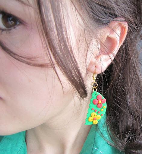 Cercei handmade Fimo primavara floricele
