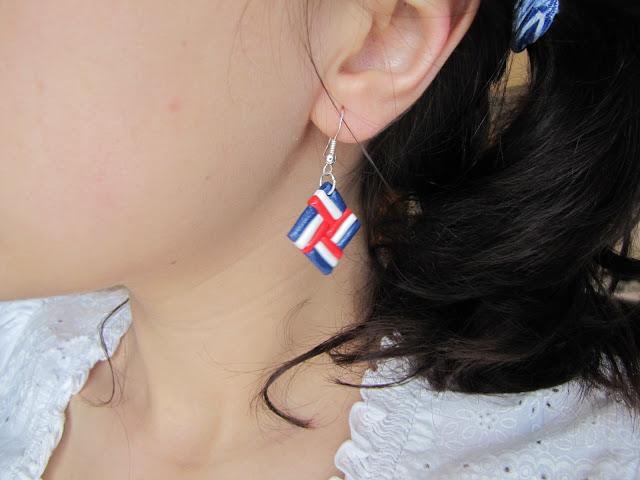 Cercei handmade din Fimo, Rosu, alb, albastru