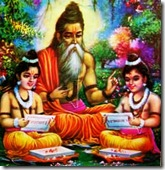 Valmiki instructs Lava and Kusha