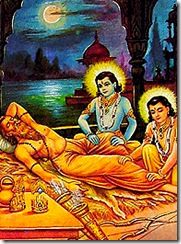 Rama and Lakshmana serving sage Vishvamitra