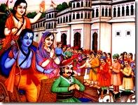 Sita, Rama, and Lakshmana departing for exile