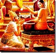 Narada Muni speaking to King Yudhisthira