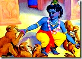 Krishna feeding butter to monkeys