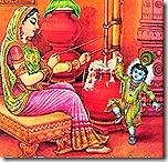 Mother Yashoda with baby Krishna