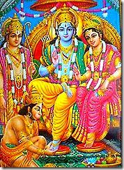 Sita, Rama, Lakshmana, and Hanuman