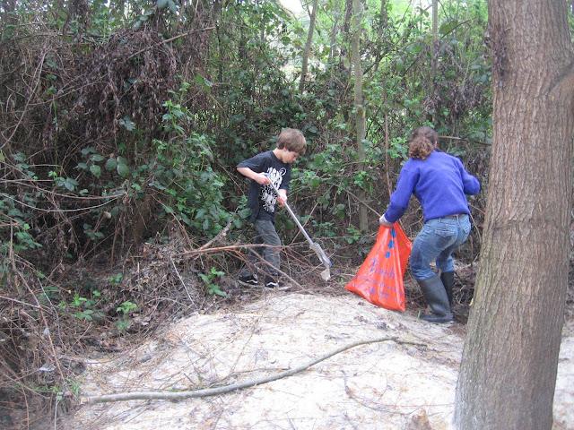 Picking up trash near the Calder Creek outfall