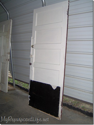 door repurposed into headboard