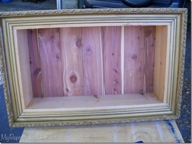shadow box before adding a shelf