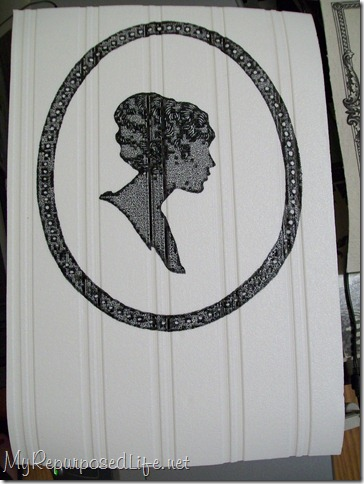 cameo on beadboard wallpaper