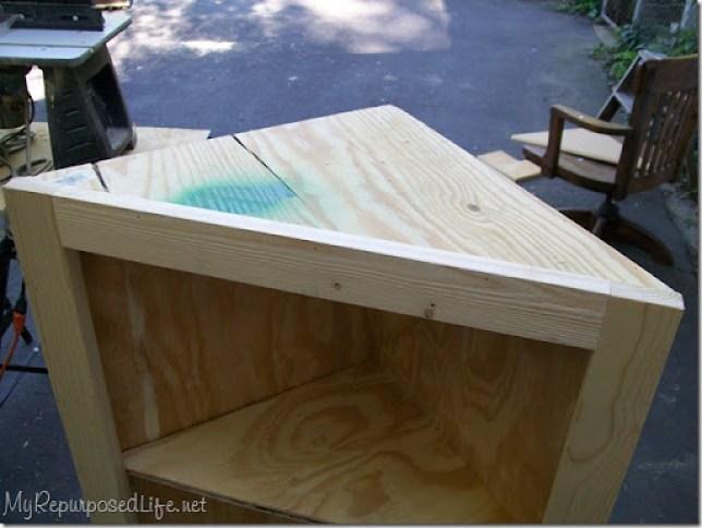 diy corner cabinet needs top trim