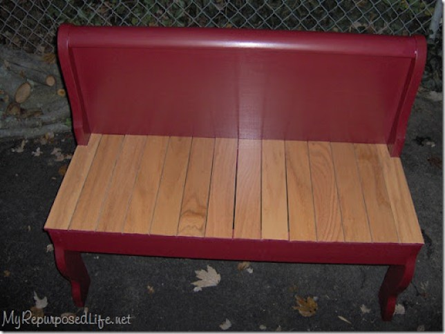 repurposed sleigh bed