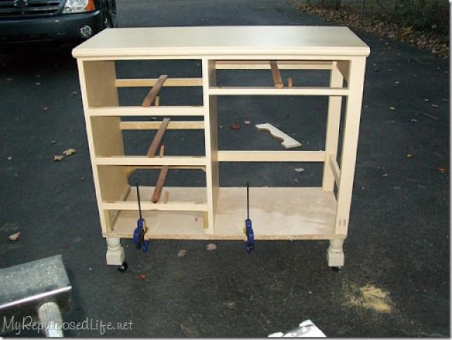 repurposed desk into island