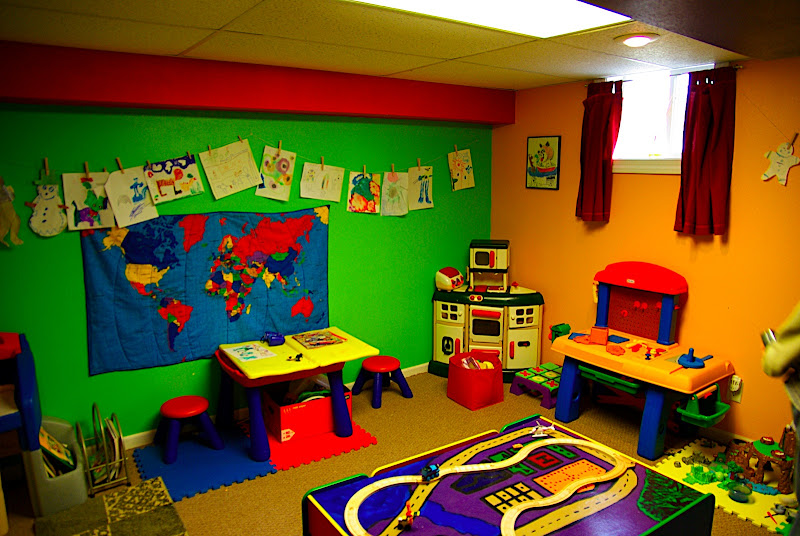 Cute kids play room in the basement.  Im not sure what well do with this - it will probably be where we put all of our music stuff for now...