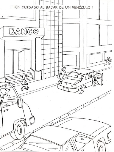 Be careful when leaving the vehicle, free coloring pages