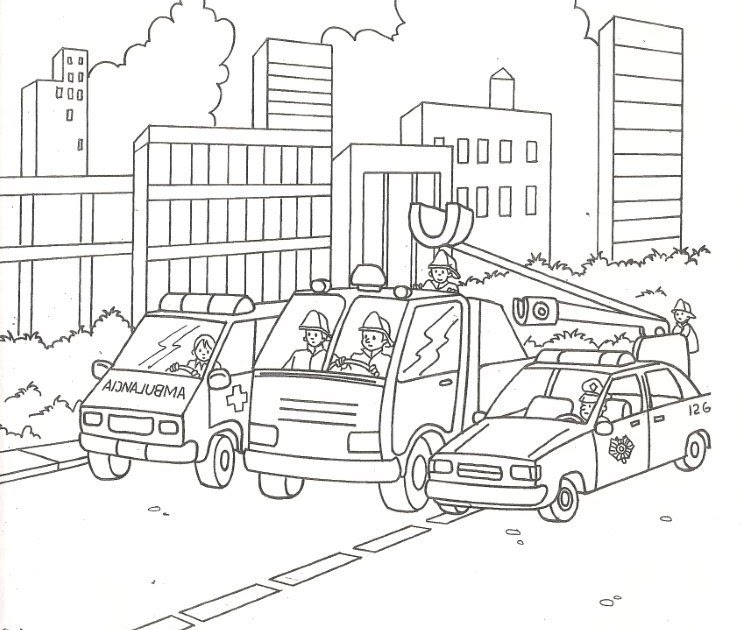 Firefighters, police cars and ambulances, free coloring