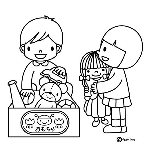 為孩子們的著色頁: Picking up toys, free coloring pages