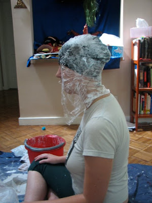 Swim cap with plastic wrap