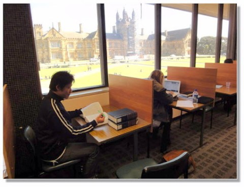 雪大圖書館,窗外有美麗風景,其實在圖書館念書也是一種享受。