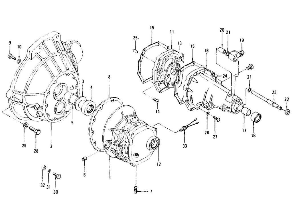 Datsun 240Z Transmission Case, Rear Extension & Breather
