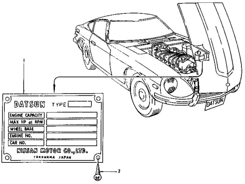 Datsun 240Z/260Z/280Z Model No. Plate
