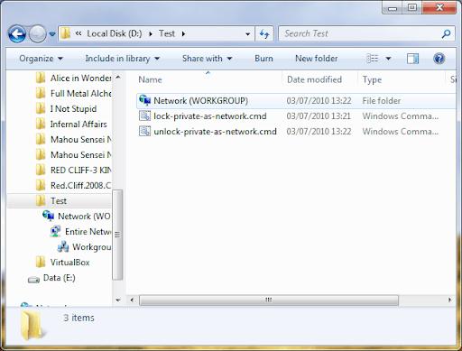 Folder private berubah menjadi Network
