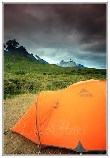 Our awesome tent under Cerro Paine Grande, at the Refugio and Camping Paine Grande