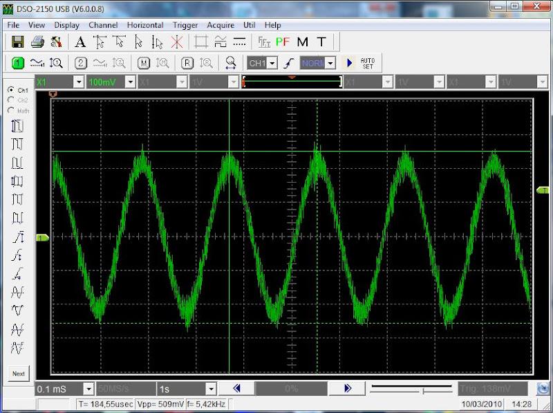 REGULAGEM DO OSCILÓSCOPIO e visualização do sinal transmitido pela cinta