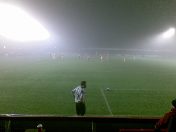 Rushdens most threatening opposition on the night - the fog.