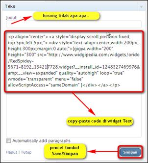 """Masukkan code pada """"widget text"""""""
