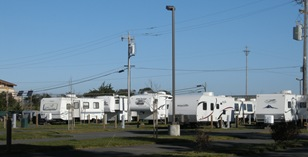 Shoreline RV looks like a parking lot behind us but it 's not too bad from our far end spot and really convenient to Eureka