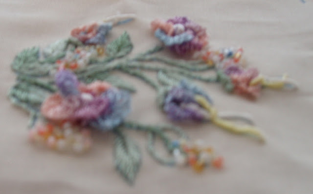 sideways view of brazilian embroidery flowers